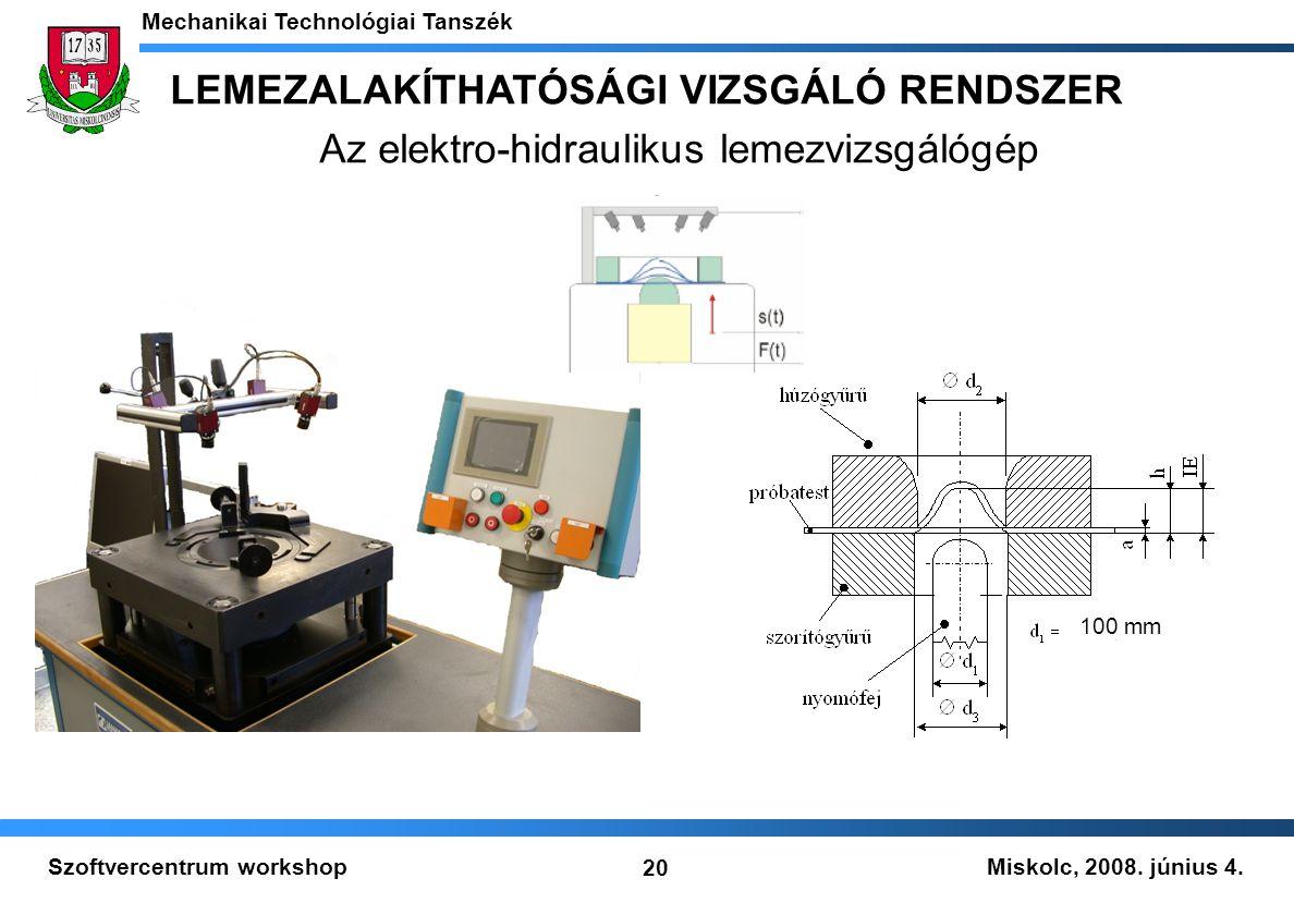 Miskolc, 2008. június 4. Mechanikai Technológiai Tanszék 20 Szoftvercentrum workshop LEMEZALAKÍTHATÓSÁGI VIZSGÁLÓ RENDSZER Az elektro-hidraulikus leme