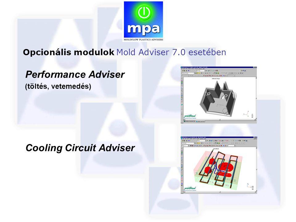 Performance Adviser (töltés, vetemedés) Cooling Circuit Adviser Opcionális modulok Mold Adviser 7.0 esetében