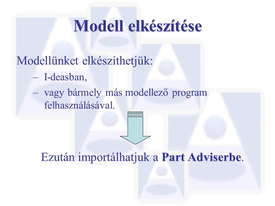 Modell elkészítése Modellünket elkészíthetjük: – I-deasban, – vagy bármely más modellező program felhasználásával. Part Adviserbe Ezután importálhatju