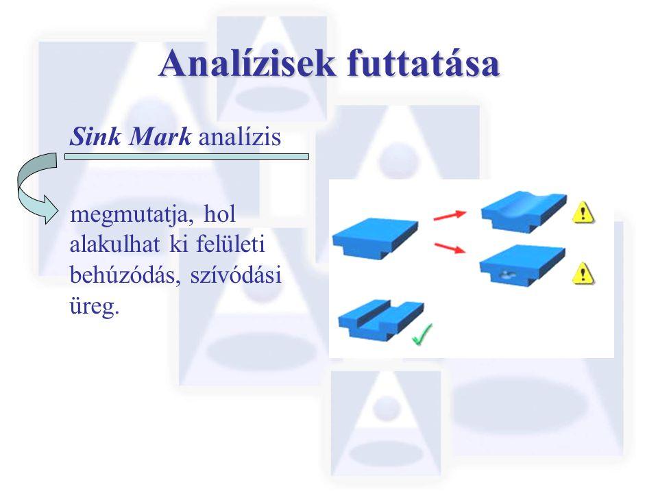 Analízisek futtatása Sink Mark analízis megmutatja, hol alakulhat ki felületi behúzódás, szívódási üreg.