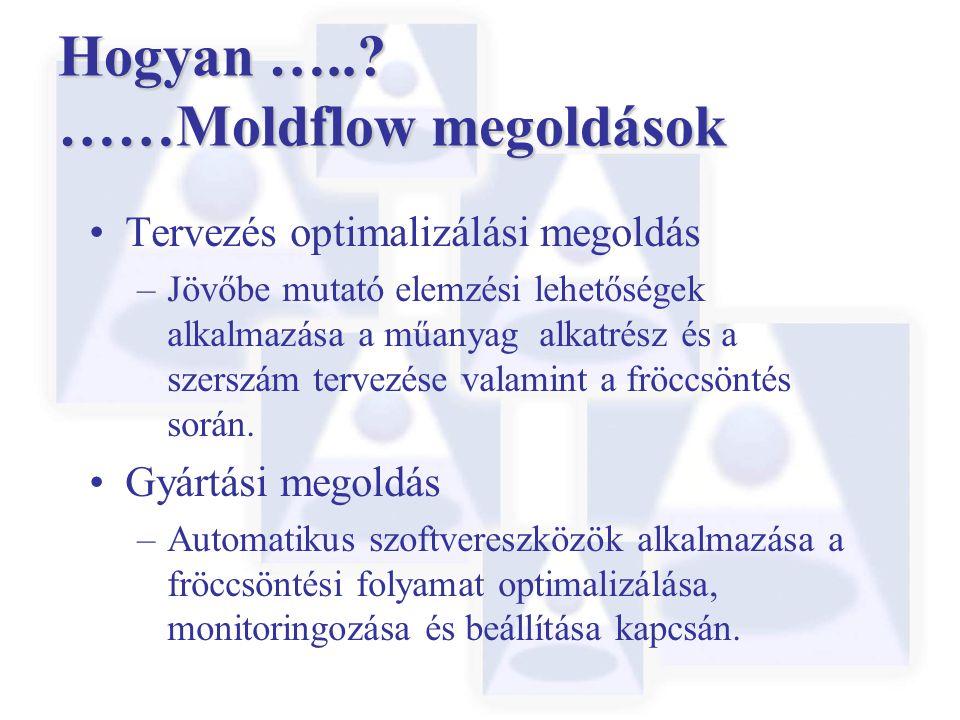 Hogyan …..? ……Moldflow megoldások Tervezés optimalizálási megoldás –Jövőbe mutató elemzési lehetőségek alkalmazása a műanyag alkatrész és a szerszám t