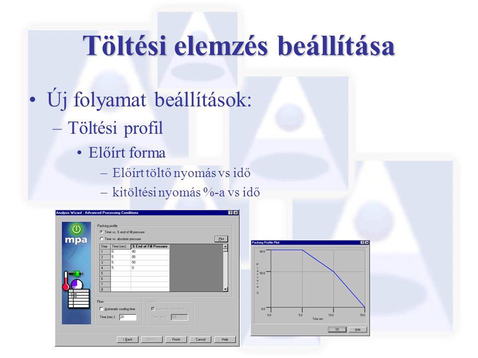 Töltési elemzés beállítása Új folyamat beállítások: –Töltési profil Előírt forma –Előírt töltő nyomás vs idő –kitöltési nyomás %-a vs idő