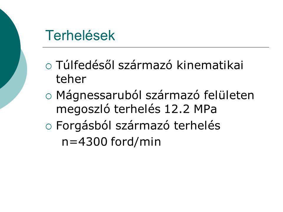 Eredmények  Koszorúban a redukált fesz:733.4 MPa  A központosító tárcsa tengely menti szakaszánál a lekerekítéseknél 747 MPa  A túlfedéseknél kialakuló nyomás pozitív (tehát a kétoldalú kapcsolatú modellezés helytálló)