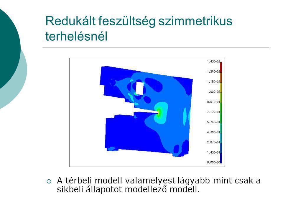 Redukált feszültség szimmetrikus terhelésnél  A térbeli modell valamelyest lágyabb mint csak a sikbeli állapotot modellező modell.