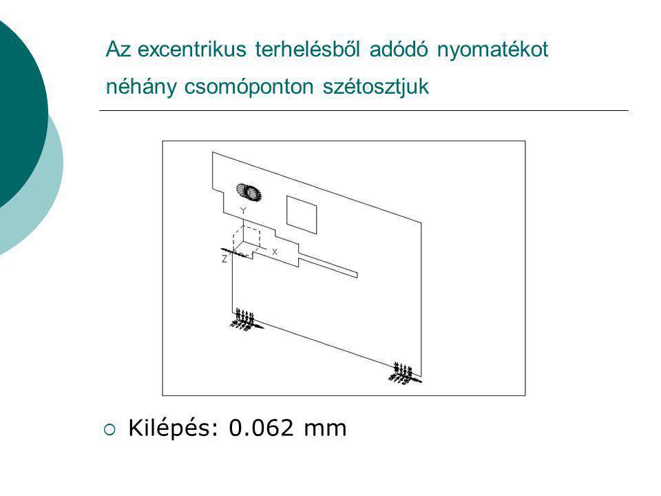 Az excentrikus terhelésből adódó nyomatékot néhány csomóponton szétosztjuk  Kilépés: 0.062 mm