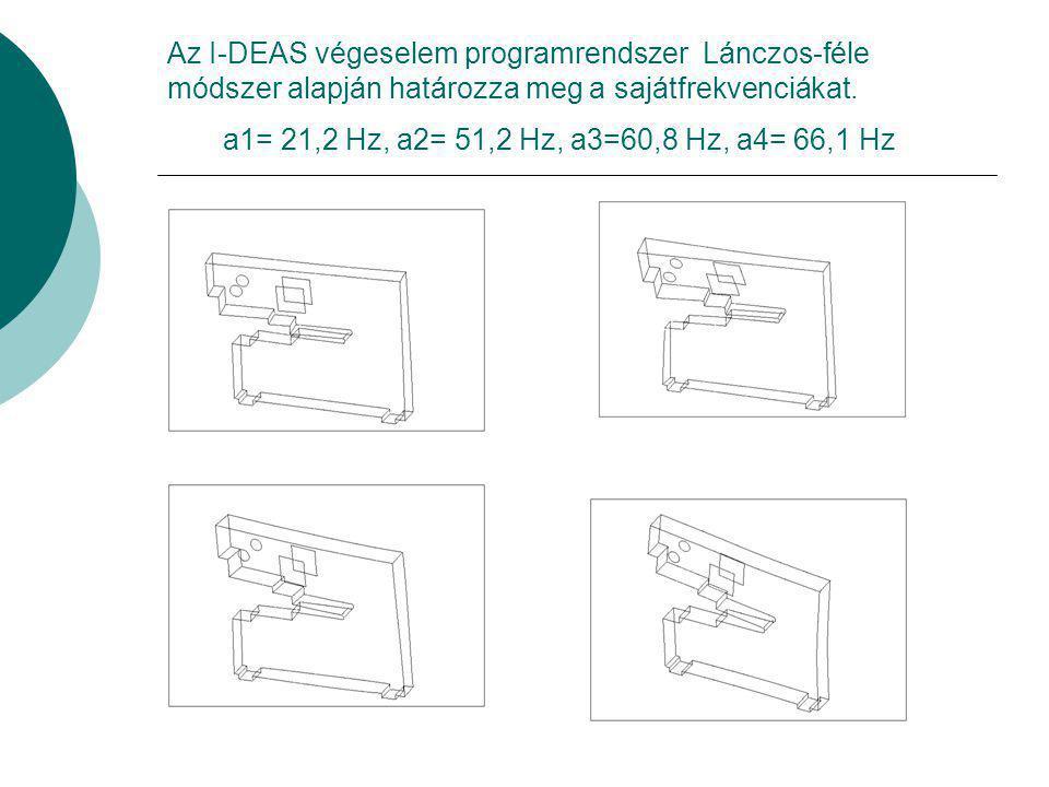Az I-DEAS végeselem programrendszer Lánczos-féle módszer alapján határozza meg a sajátfrekvenciákat. a1= 21,2 Hz, a2= 51,2 Hz, a3=60,8 Hz, a4= 66,1 Hz