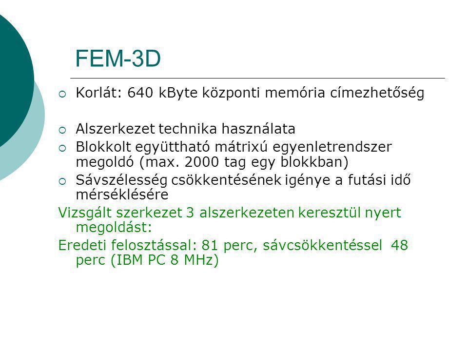 FEM-3D  Korlát: 640 kByte központi memória címezhetőség  Alszerkezet technika használata  Blokkolt együttható mátrixú egyenletrendszer megoldó (max