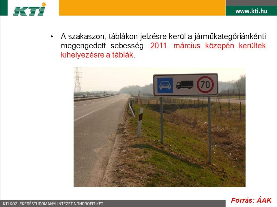 A szakaszon, táblákon jelzésre kerül a járműkategóriánkénti megengedett sebesség. 2011. március közepén kerültek kihelyezésre a táblák. Forrás: ÁAK