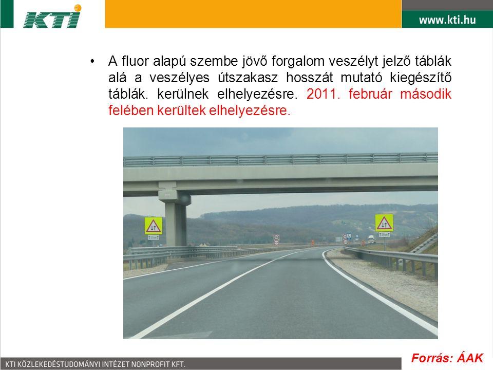 A fluor alapú szembe jövő forgalom veszélyt jelző táblák alá a veszélyes útszakasz hosszát mutató kiegészítő táblák. kerülnek elhelyezésre. 2011. febr