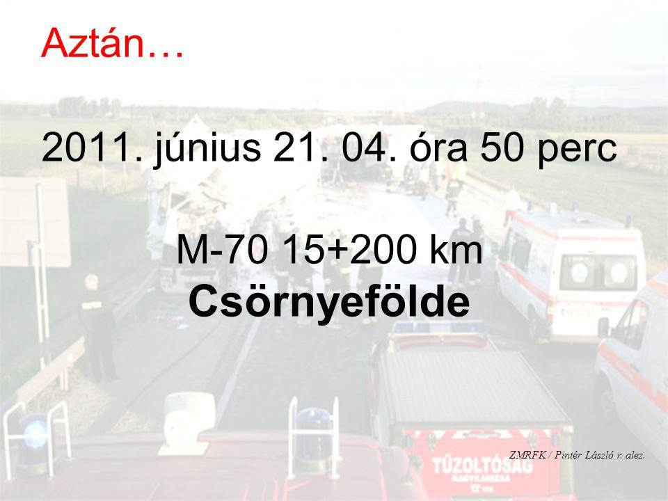 2011. június 21. 04. óra 50 perc M-70 15+200 km Csörnyefölde ZMRFK / Pintér László r. alez. Aztán…