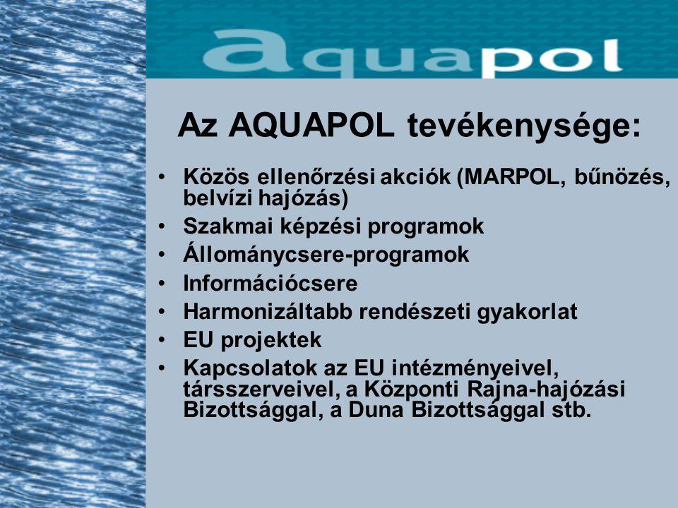 Az AQUAPOL tevékenysége: Közös ellenőrzési akciók (MARPOL, bűnözés, belvízi hajózás) Szakmai képzési programok Állománycsere-programok Információcsere Harmonizáltabb rendészeti gyakorlat EU projektek Kapcsolatok az EU intézményeivel, társszerveivel, a Központi Rajna-hajózási Bizottsággal, a Duna Bizottsággal stb.