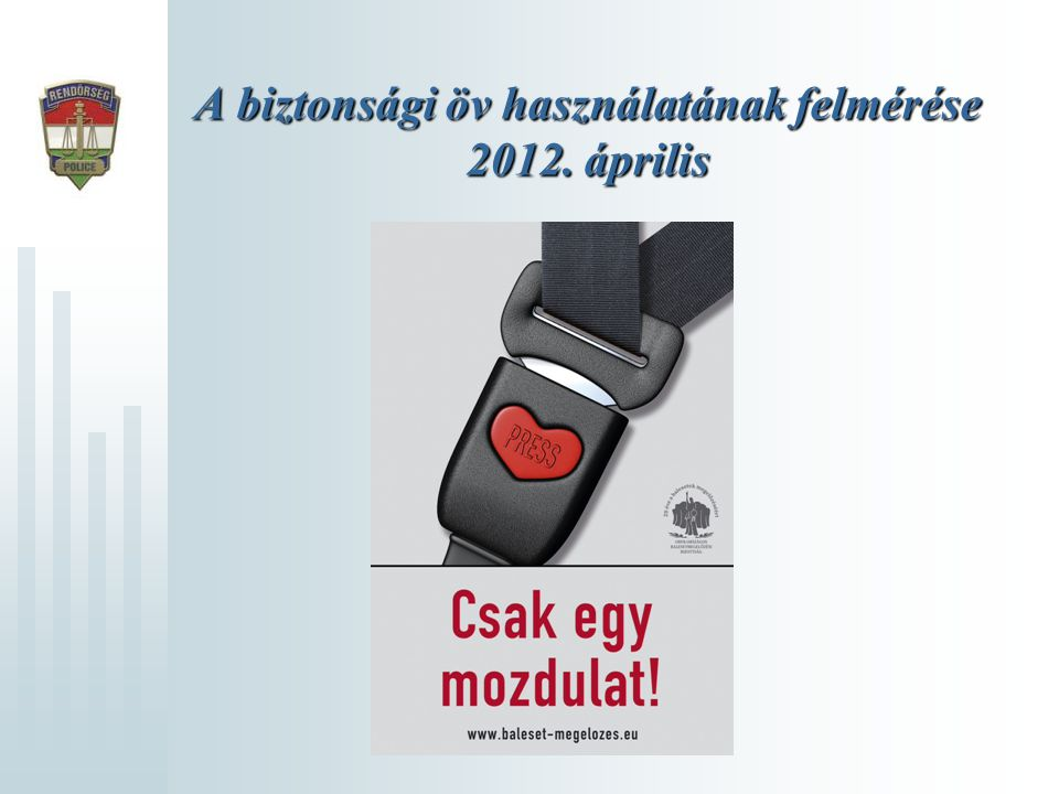 A biztonsági öv használatának felmérése 2012. április