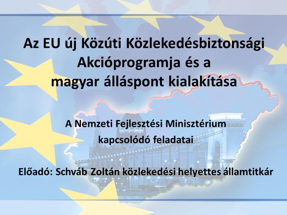 Az EU új Közúti Közlekedésbiztonsági Akcióprogramja és a magyar álláspont kialakítása A Nemzeti Fejlesztési Minisztérium kapcsolódó feladatai Előadó: Schváb Zoltán közlekedési helyettes államtitkár