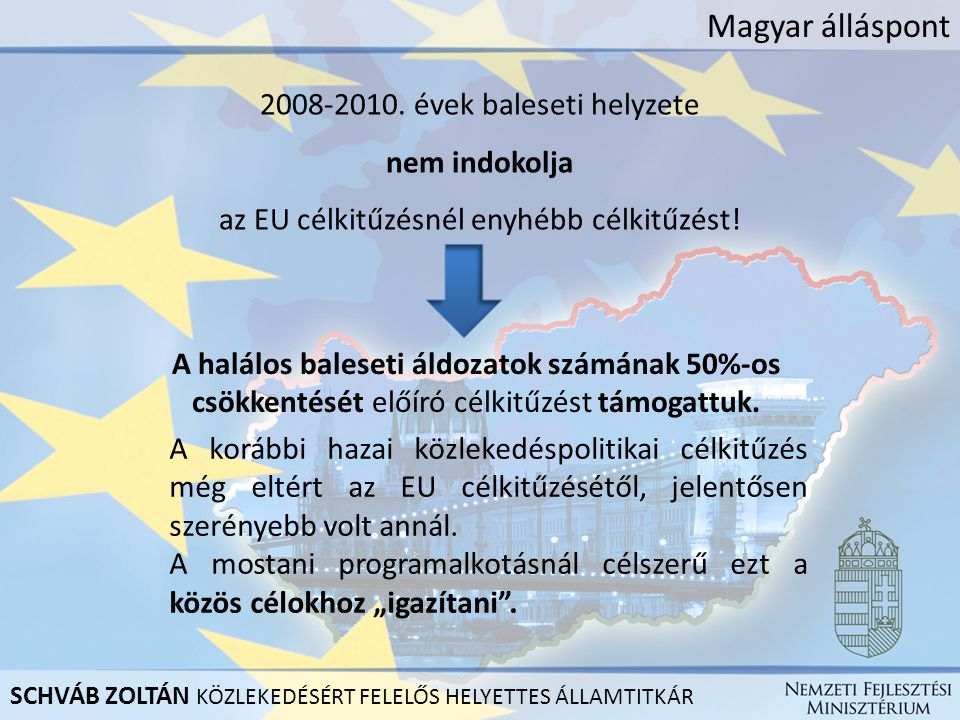 Magyar álláspont 2008-2010. évek baleseti helyzete nem indokolja az EU célkitűzésnél enyhébb célkitűzést! A halálos baleseti áldozatok számának 50%-os