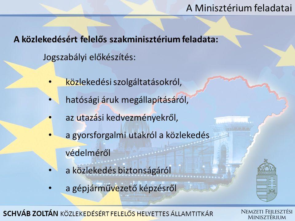 A Minisztérium feladatai A közlekedésért felelős szakminisztérium feladata: Jogszabályi előkészítés: közlekedési szolgáltatásokról, hatósági áruk megá