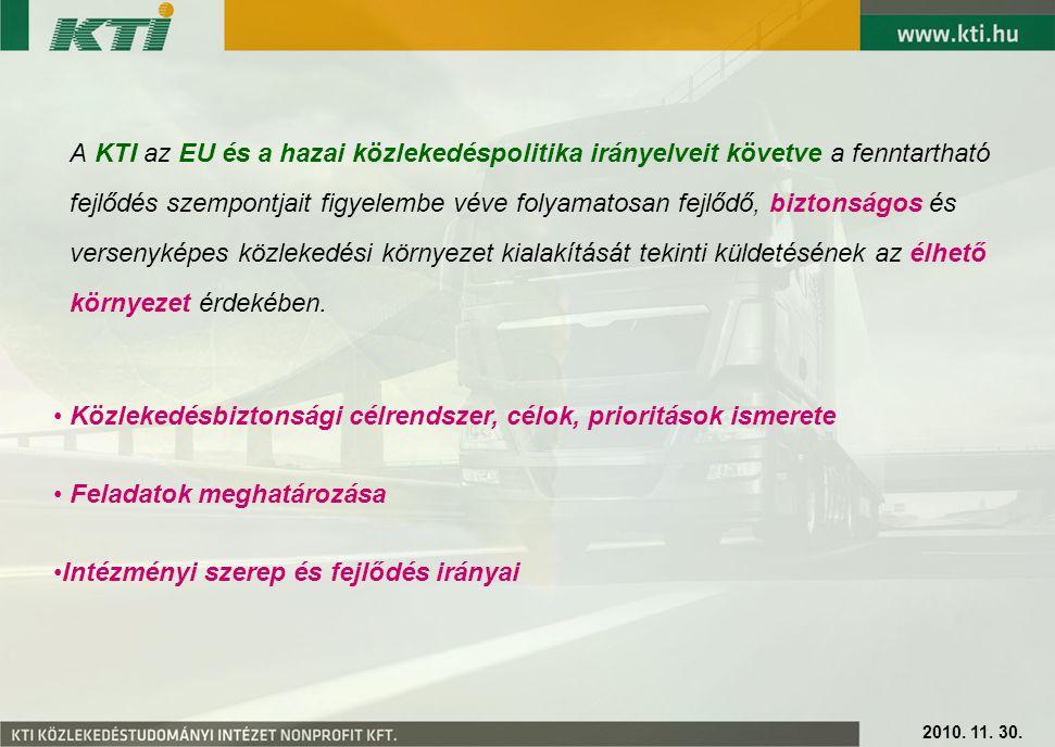 A KTI az EU és a hazai közlekedéspolitika irányelveit követve a fenntartható fejlődés szempontjait figyelembe véve folyamatosan fejlődő, biztonságos és versenyképes közlekedési környezet kialakítását tekinti küldetésének az élhető környezet érdekében.