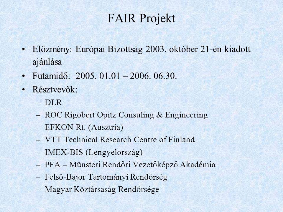 FAIR Projekt Előzmény: Európai Bizottság 2003. október 21-én kiadott ajánlása Futamidő: 2005.
