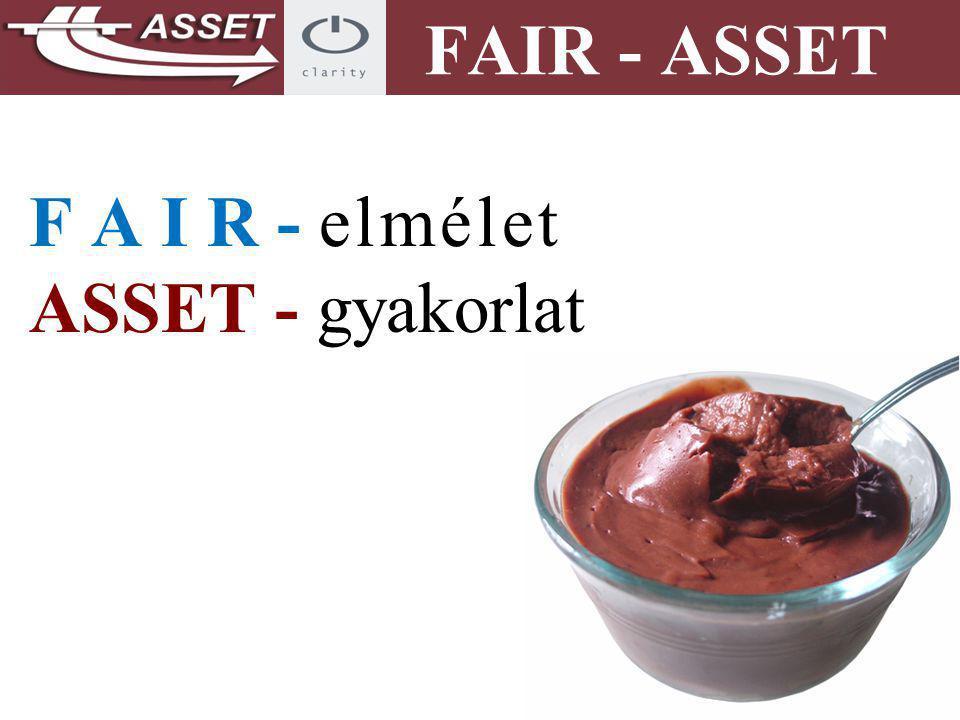 F A I R - elmélet ASSET - gyakorlat FAIR - ASSET