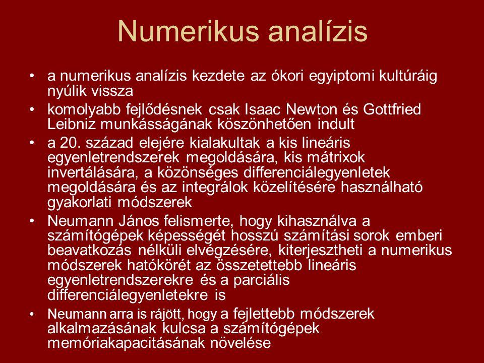 Numerikus analízis a numerikus analízis kezdete az ókori egyiptomi kultúráig nyúlik vissza komolyabb fejlődésnek csak Isaac Newton és Gottfried Leibni