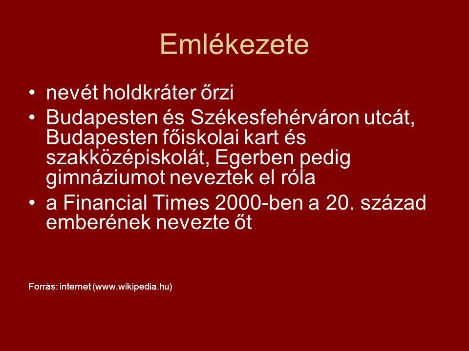 Emlékezete nevét holdkráter őrzi Budapesten és Székesfehérváron utcát, Budapesten főiskolai kart és szakközépiskolát, Egerben pedig gimnáziumot nevezt