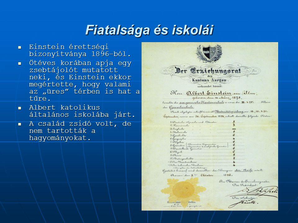 Fiatalsága és iskolái Einstein érettségi bizonyítványa 1896-ból. Einstein érettségi bizonyítványa 1896-ból. Ötéves korában apja egy zsebtájolót mutato