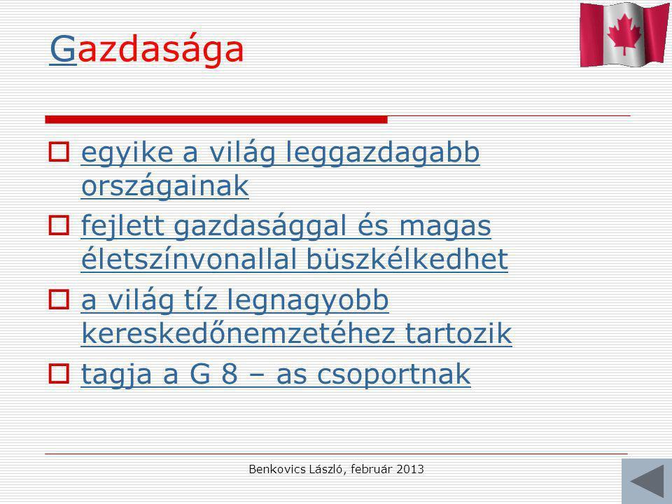 Benkovics László, február 2013 GGazdasága  egyike a világ leggazdagabb országainak egyike a világ leggazdagabb országainak  fejlett gazdasággal és magas életszínvonallal büszkélkedhet fejlett gazdasággal és magas életszínvonallal büszkélkedhet  a világ tíz legnagyobb kereskedőnemzetéhez tartozik a világ tíz legnagyobb kereskedőnemzetéhez tartozik  tagja a G 8 – as csoportnak tagja a G 8 – as csoportnak