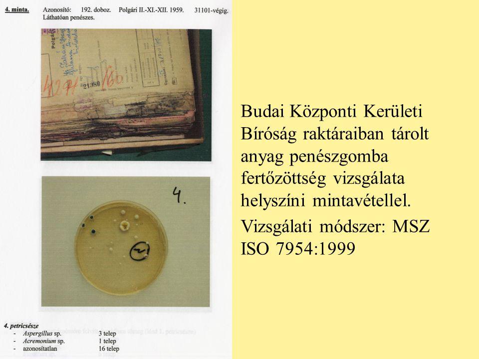 Budai Központi Kerületi Bíróság raktáraiban tárolt anyag penészgomba fertőzöttség vizsgálata helyszíni mintavétellel. Vizsgálati módszer: MSZ ISO 7954