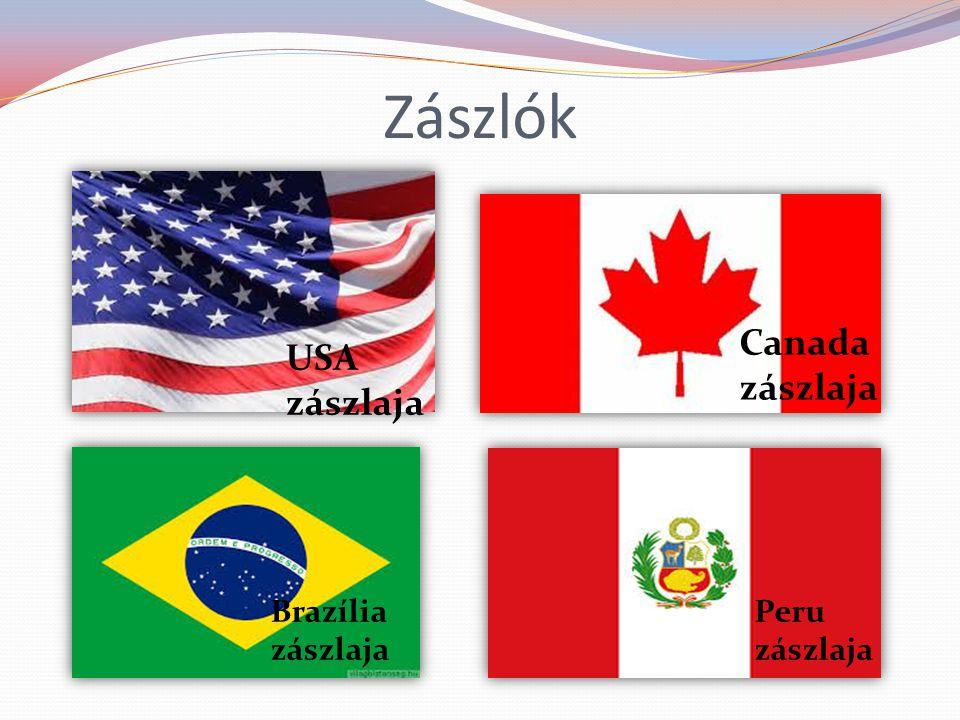 Zászlók USA zászlaja Canada zászlaja Brazília zászlaja Peru zászlaja