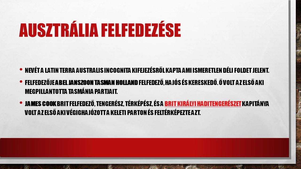 AUSZTRÁLIA FELFEDEZÉSE NEVÉT A LATIN TERRA AUSTRALIS INCOGNITA KIFEJEZÉSRŐL KAPTA AMI ISMERETLEN DÉLI FOLDET JELENT.