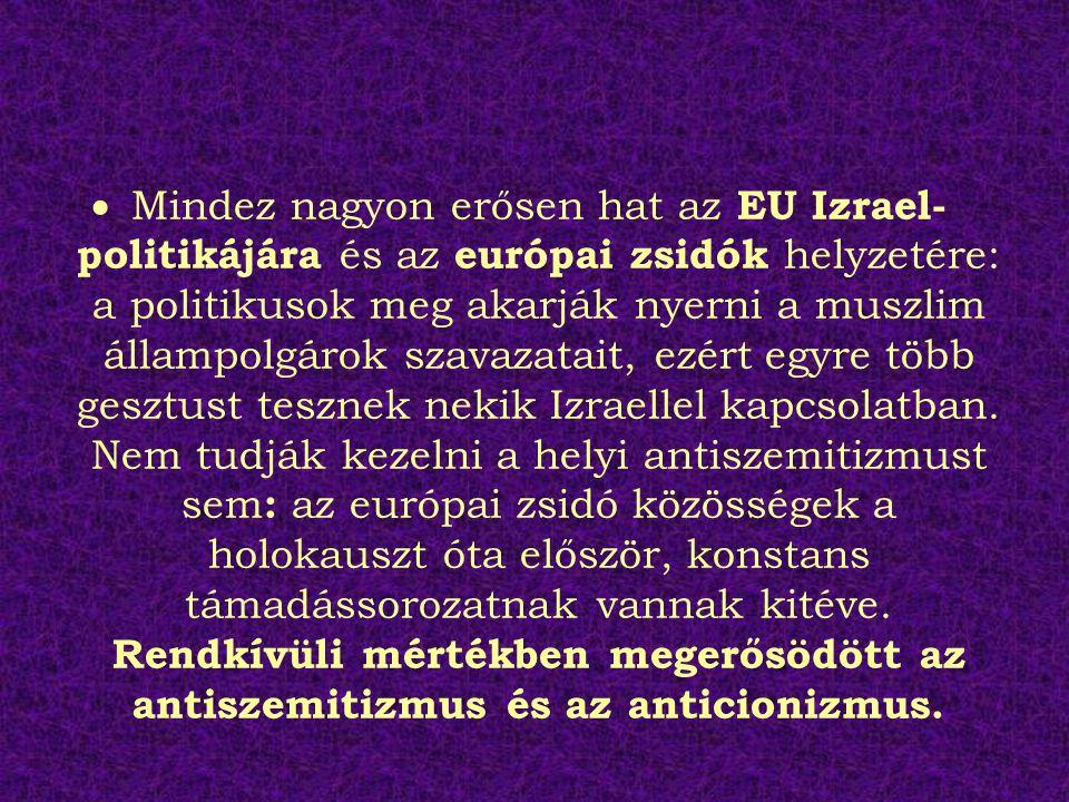  Mindez nagyon erősen hat az EU Izrael- politikájára és az európai zsidók helyzetére: a politikusok meg akarják nyerni a muszlim állampolgárok szavazatait, ezért egyre több gesztust tesznek nekik Izraellel kapcsolatban.