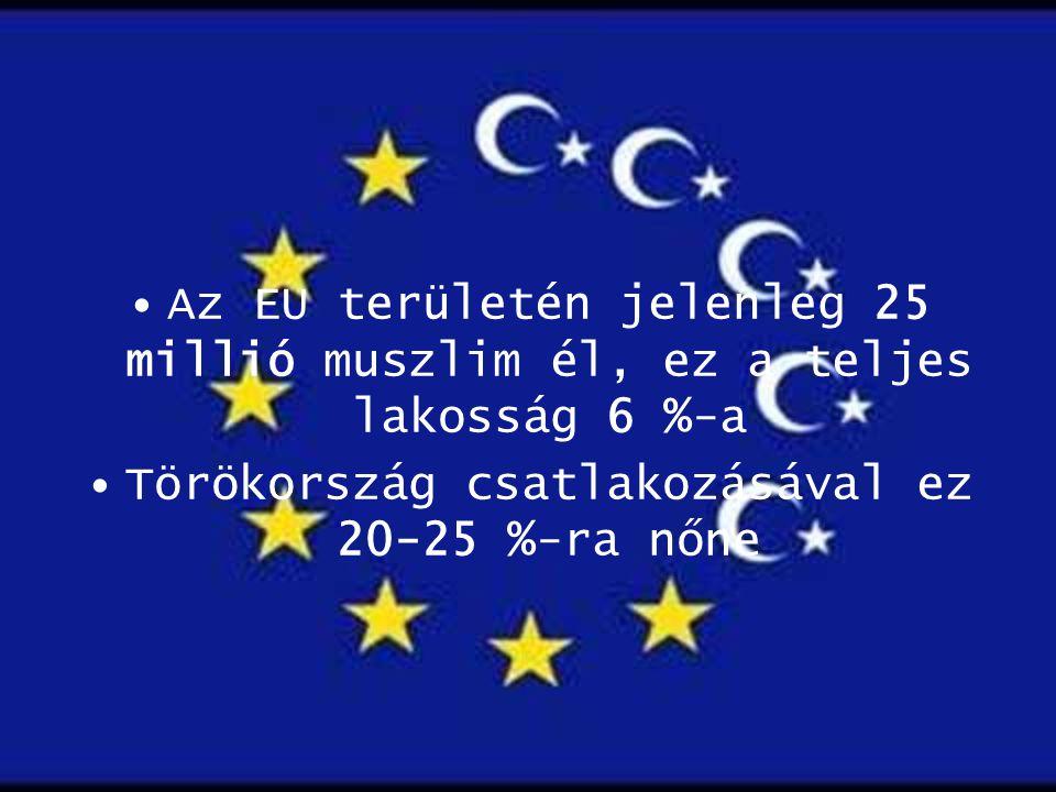 Az EU területén jelenleg 25 millió muszlim él, ez a teljes lakosság 6 %-a Törökország csatlakozásával ez 20-25 %-ra nőne