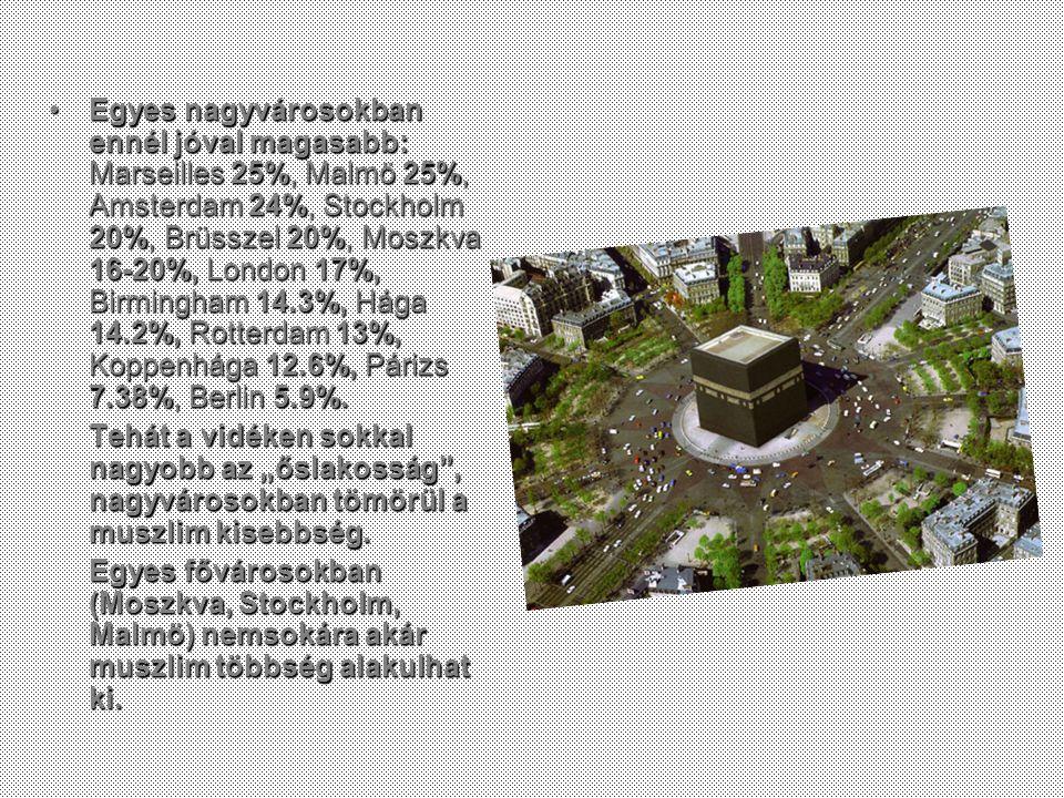 Egyes nagyvárosokban ennél jóval magasabb: Marseilles 25%, Malmö 25%, Amsterdam 24%, Stockholm 20%, Brüsszel 20%, Moszkva 16-20%, London 17%, Birmingham 14.3%, Hága 14.2%, Rotterdam 13%, Koppenhága 12.6%, Párizs 7.38%, Berlin 5.9%.Egyes nagyvárosokban ennél jóval magasabb: Marseilles 25%, Malmö 25%, Amsterdam 24%, Stockholm 20%, Brüsszel 20%, Moszkva 16-20%, London 17%, Birmingham 14.3%, Hága 14.2%, Rotterdam 13%, Koppenhága 12.6%, Párizs 7.38%, Berlin 5.9%.