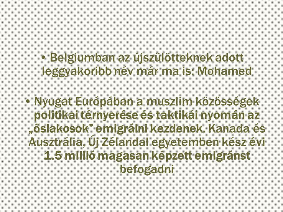 """Belgiumban az újszülötteknek adott leggyakoribb név már ma is: Mohamed Nyugat Európában a muszlim közösségek politikai térnyerése és taktikái nyomán az """"őslakosok emigrálni kezdenek."""