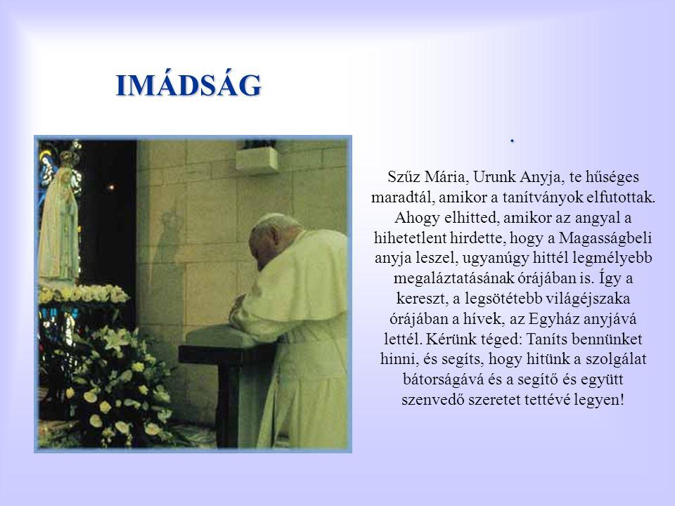 IMÁDSÁG. Szűz Mária, Urunk Anyja, te hűséges maradtál, amikor a tanítványok elfutottak. Ahogy elhitted, amikor az angyal a hihetetlent hirdette, hogy