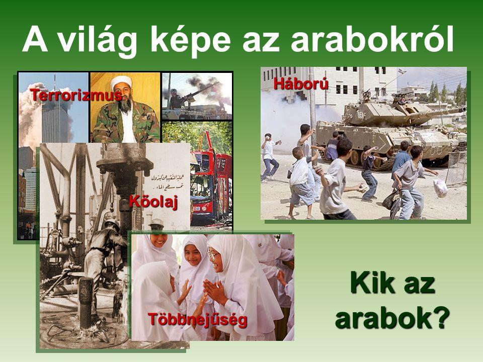 A világ képe az arabokról Terrorizmus Háború Kőolaj Többnejűség Kik az arabok?
