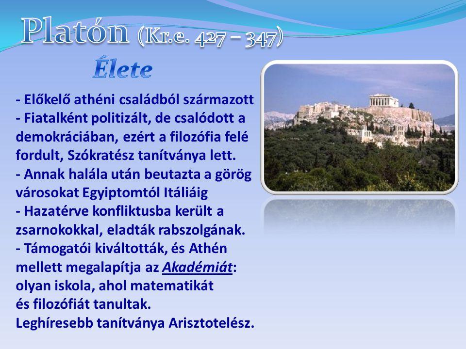 - Előkelő athéni családból származott - Fiatalként politizált, de csalódott a demokráciában, ezért a filozófia felé fordult, Szókratész tanítványa lett.