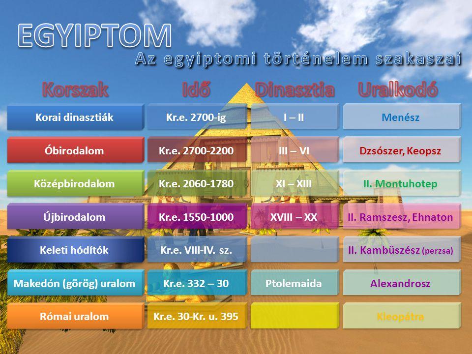 Korai dinasztiák Óbirodalom Középbirodalom Újbirodalom Makedón (görög) uralom Római uralom Keleti hódítók Kr.e. 2700-ig I – II Menész Kr.e. 2700-2200