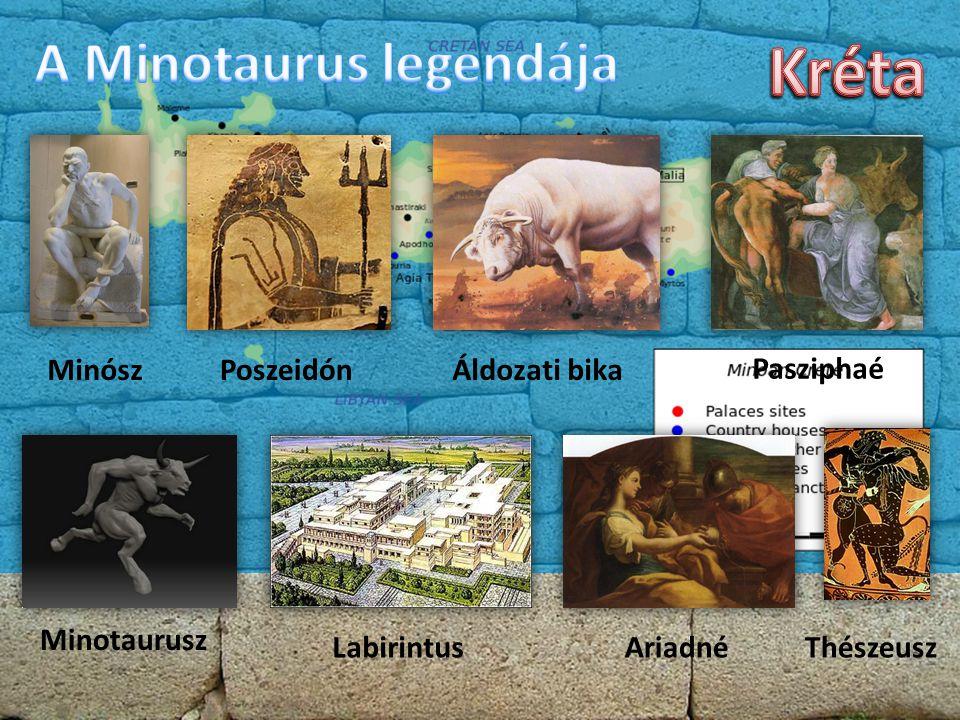 MinószPoszeidónÁldozati bika Pasziphaé Minotaurusz LabirintusAriadnéThészeusz