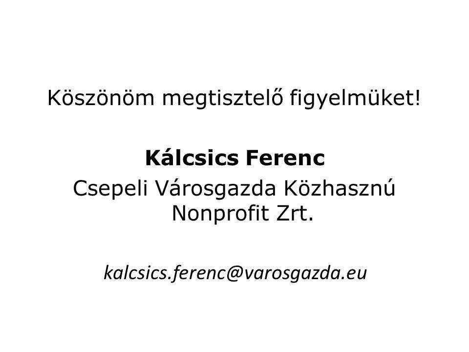 Köszönöm megtisztelő figyelmüket. Kálcsics Ferenc Csepeli Városgazda Közhasznú Nonprofit Zrt.