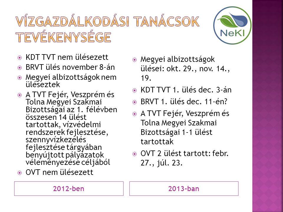 2012-ben2013-ban  KDT TVT nem ülésezett  BRVT ülés november 8-án  Megyei albizottságok nem üléseztek  A TVT Fejér, Veszprém és Tolna Megyei Szakma