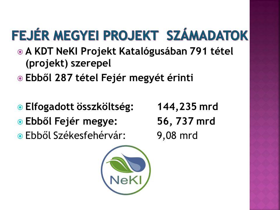  A KDT NeKI Projekt Katalógusában 791 tétel (projekt) szerepel  Ebből 287 tétel Fejér megyét érinti  Elfogadott összköltség: 144,235 mrd  Ebből Fe