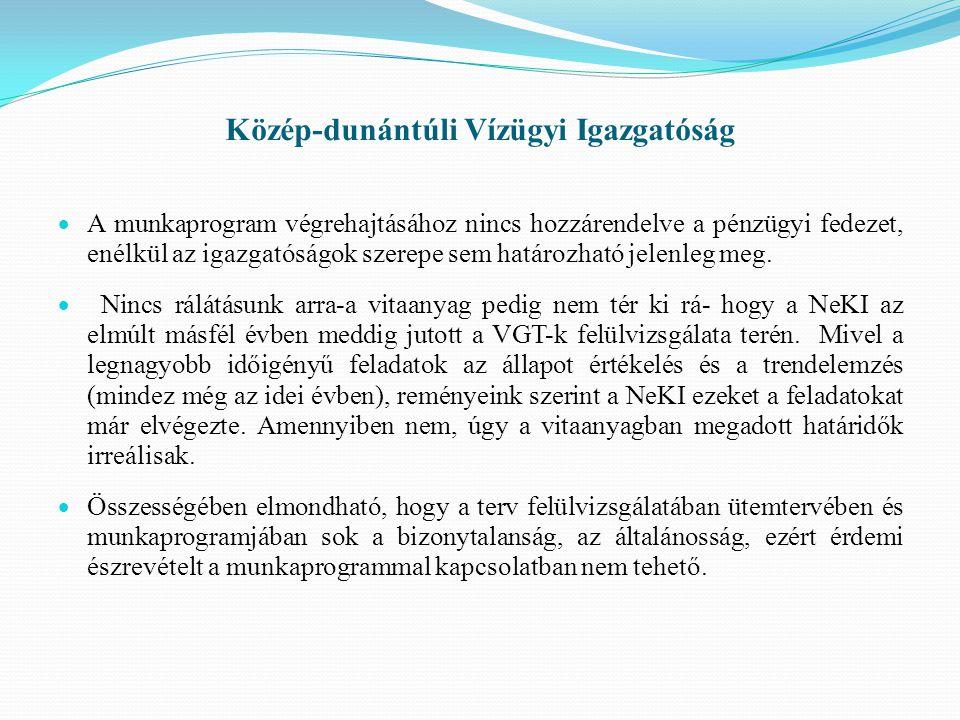 Közép-dunántúli Vízügyi Igazgatóság  A munkaprogram végrehajtásához nincs hozzárendelve a pénzügyi fedezet, enélkül az igazgatóságok szerepe sem határozható jelenleg meg.