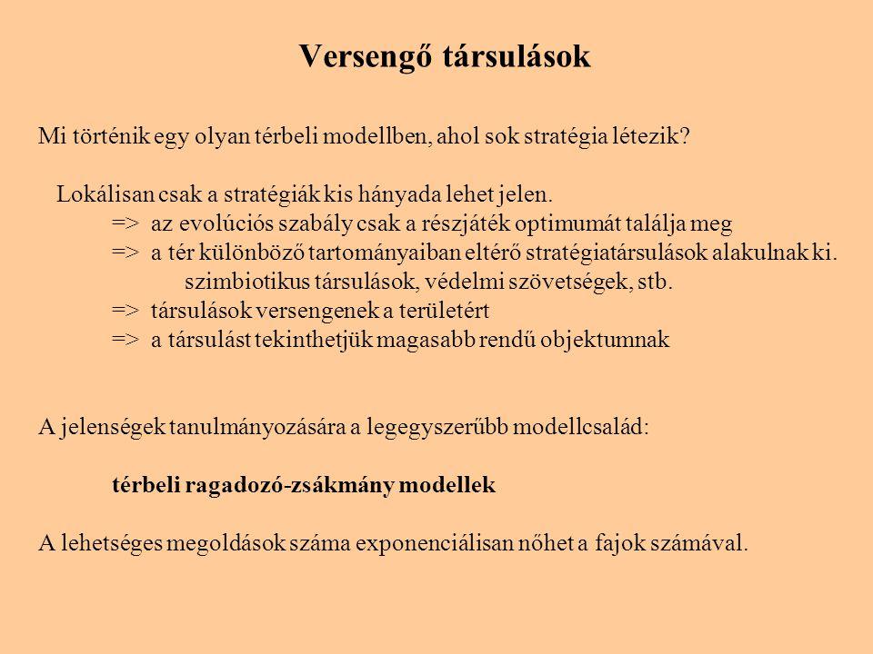 Versengő társulások Mi történik egy olyan térbeli modellben, ahol sok stratégia létezik.