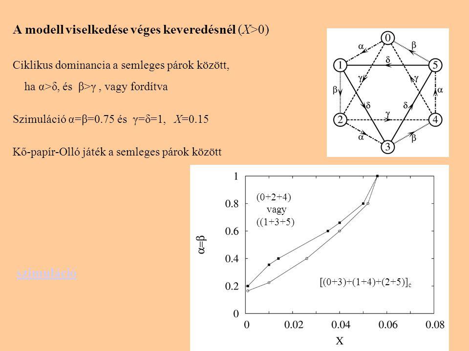 A modell viselkedése véges keveredésnél (X>0) Ciklikus dominancia a semleges párok között, ha α>δ, és β>γ, vagy fordítva Szimuláció α=β=0.75 és γ=δ=1, X=0.15 Kő-papír-Olló játék a semleges párok között szimuláció (0+2+4) vagy ((1+3+5) [(0+3)+(1+4)+(2+5)] c