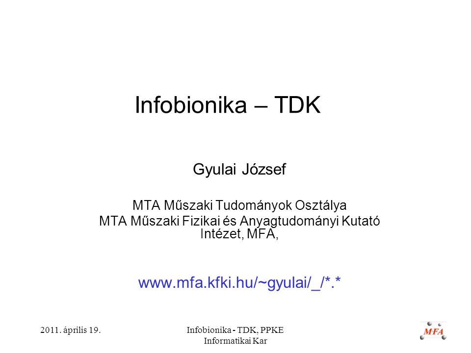 2011. április 19.Infobionika - TDK, PPKE Informatikai Kar Infobionika – TDK Gyulai József MTA Műszaki Tudományok Osztálya MTA Műszaki Fizikai és Anyag