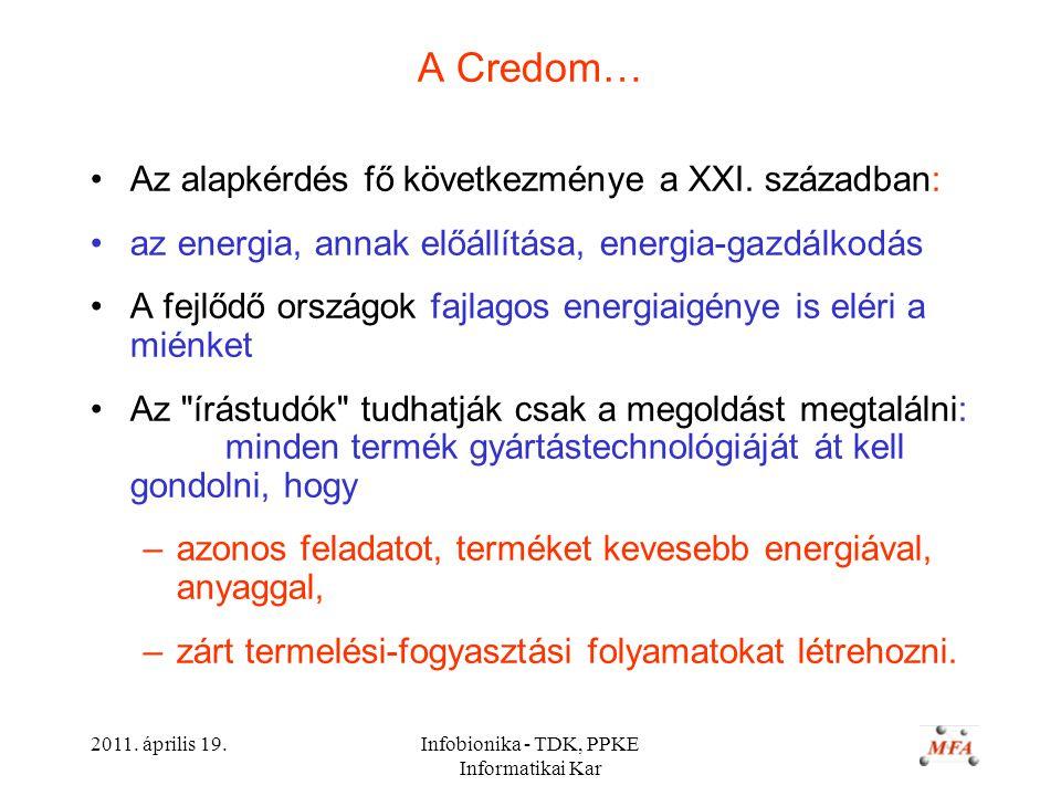 2011. április 19.Infobionika - TDK, PPKE Informatikai Kar A Credom… Az alapkérdés fő következménye a XXI. században: az energia, annak előállítása, en