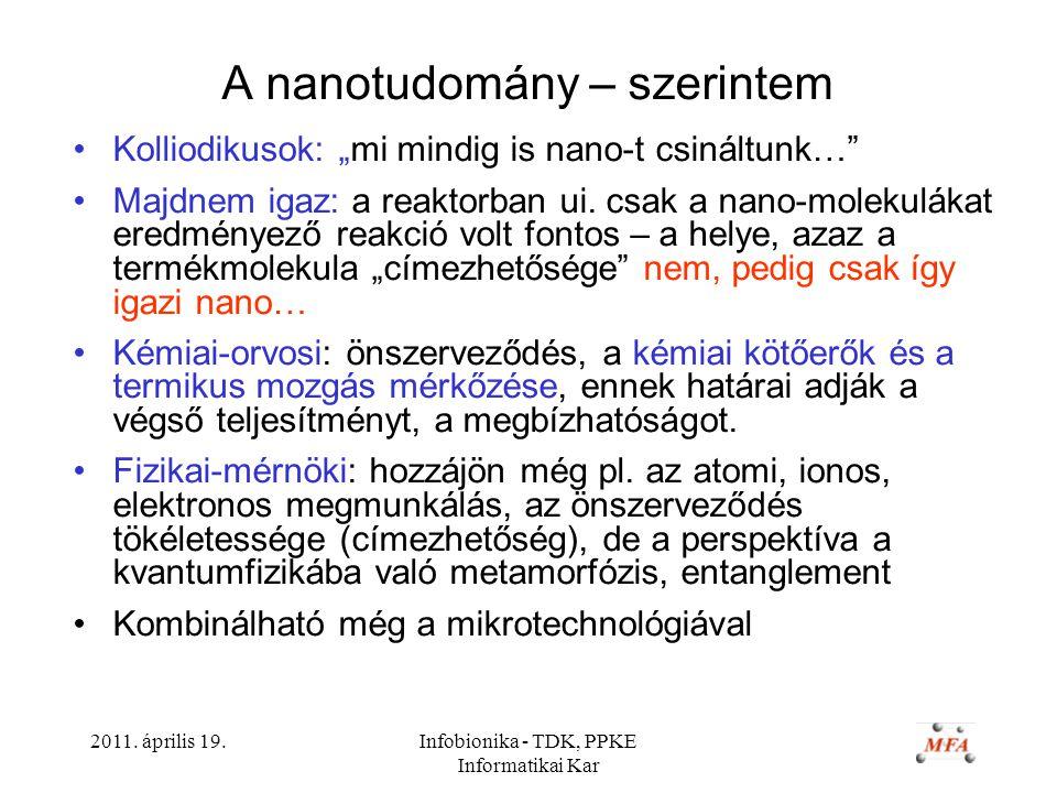 """2011. április 19.Infobionika - TDK, PPKE Informatikai Kar A nanotudomány – szerintem Kolliodikusok: """"mi mindig is nano-t csináltunk…"""" Majdnem igaz: a"""
