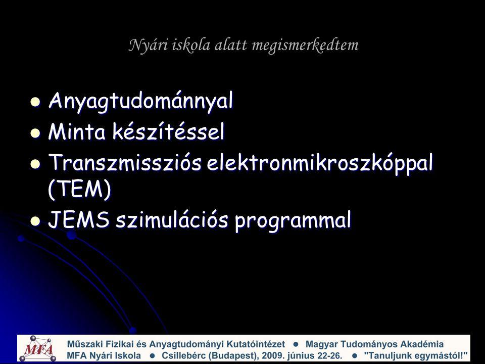 Nyári iskola alatt megismerkedtem Anyagtudománnyal Anyagtudománnyal Minta készítéssel Minta készítéssel Transzmissziós elektronmikroszkóppal (TEM) Transzmissziós elektronmikroszkóppal (TEM) JEMS szimulációs programmal JEMS szimulációs programmal
