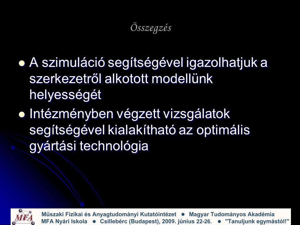 Összegzés A szimuláció segítségével igazolhatjuk a szerkezetről alkotott modellünk helyességét A szimuláció segítségével igazolhatjuk a szerkezetről alkotott modellünk helyességét Intézményben végzett vizsgálatok segítségével kialakítható az optimális gyártási technológia Intézményben végzett vizsgálatok segítségével kialakítható az optimális gyártási technológia