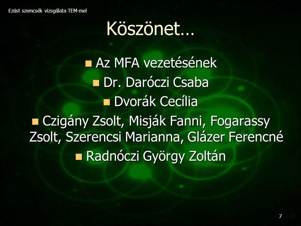 Ezüst szemcsék vizsgálata TEM-mel 7 Köszönet… Az MFA vezetésének Az MFA vezetésének Dr. Daróczi Csaba Dr. Daróczi Csaba Dvorák Cecília Dvorák Cecília